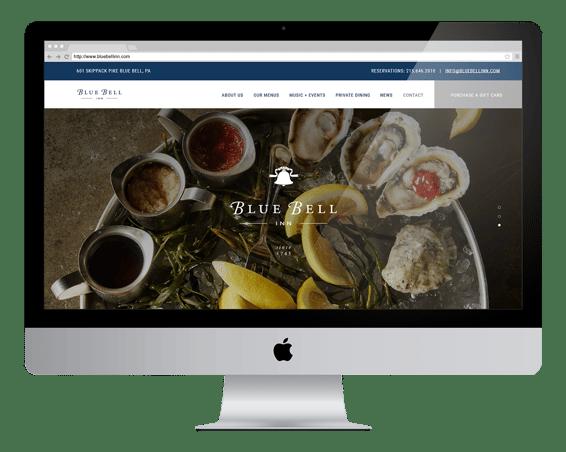 blue bell inn website on desktop