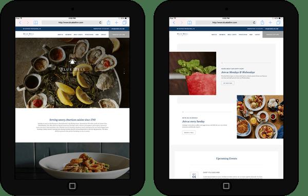 blue bell inn website on tablet